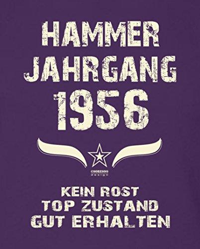 Geburtstagsgeschenk T-Shirt Männer Geschenk zum 61. Geburtstag Hammer Jahrgang 1956 - Herrenshirt - Freizeitshirt Herren Farbe: lila Lila