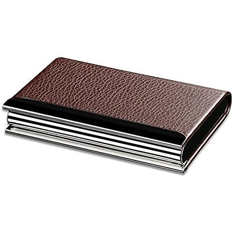 KINGFOM ™ in acciaio inox e pelle Business Nome Credito ID Card Case marrone