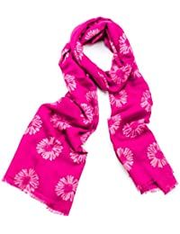 Hot Pink Daisy Print Wide Fringe Scarf