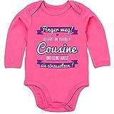 Shirtracer Sprüche Baby - Ich Habe eine verrückte Cousine lila - 3-6 Monate - Fuchsia - BZ30 - Baby Body Langarm