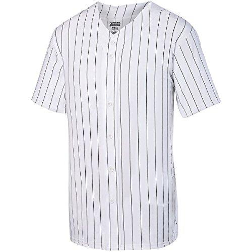 Augusta Herren Nadelstreifen Full Button Baseball Jersey XXL weiß/schwarz