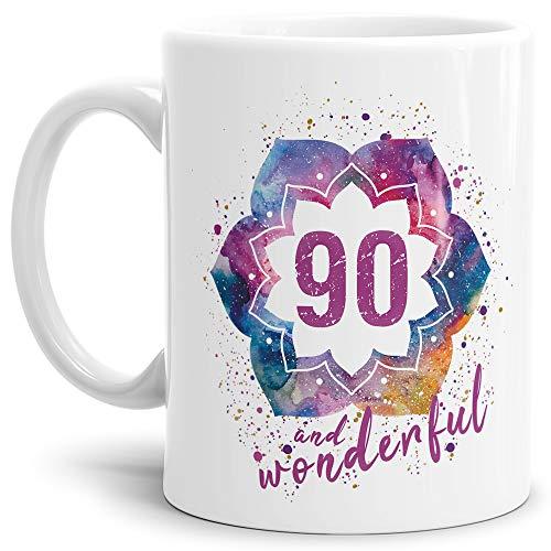Tassendruck Geburtstags-Tasse 90 and Wonderful Geburtstags-Geschenk zum 90. Geburtstag als Geschenkidee für die Frau/Abstrakt/Bunt/Kaffeetasse/Weiss