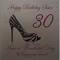 WHITE COTTON CARDS Happy Sister 30. Handmade 30th Birthday Card (Shoe, Code wbs30)