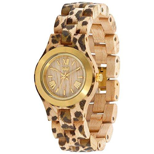 Wewood Criss donna in metallo/Leopard orologio in legno di acero, taglia unica, colore: Beige/oro