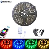 Bluetooth LED Streifen Lichter Kit, 16.4ft 150leds 5050 RGB SMD LED Lichtleiste, iOS und Android APP DC 12V 2A
