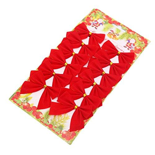 (AOYOMO 12 Stück einfarbige Schleife Weihnachtsbaum-Dekorationen Festival Party Ornament, rot, One Size: 5 * 6CM)