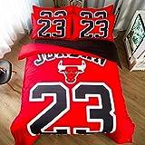 ZHOUING-- Unübertroffene Bulls 23 Bettwäsche-Set, Für Basketball-Fans - 4 Stück - 100% Baumwolle Percale Light Weight Bett Tröster Covers,1.8M