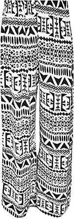 Plus Size Womens Floral Print ladies Wide Leg Palazzo Trousers Pants - Aztec - 12-14