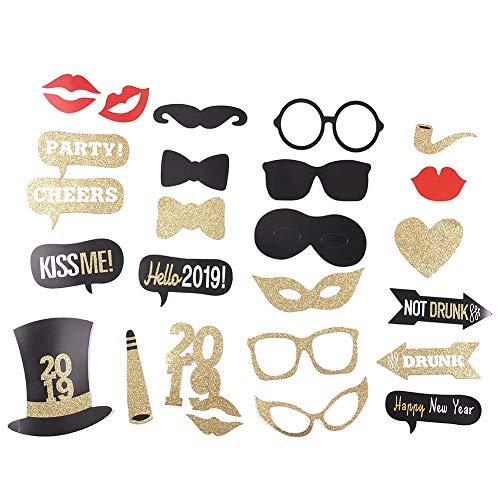 yuhiugre Foto-Requisiten, Happy Silvester Party, Weihnachtsbedarf DIY Foto-Requisiten, Dekoration, Masken, Hüte, Brille, Hipster Fliege usw. 26pcs