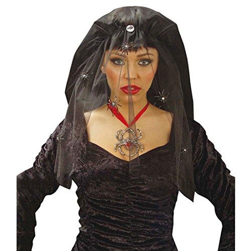 NET TOYS Schleier Schwarze Witwe Halloween Karneval Spinnen Spinnenschleier Hexenschleier Hexen Trauerschleier Fasnet (Schwarze Witwe Halloween)