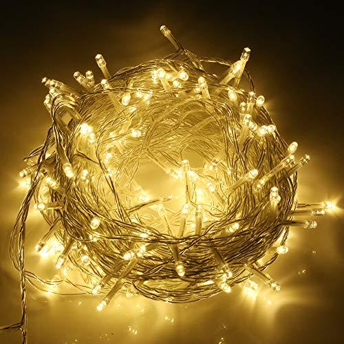 SYCEES Nastro Catena Luci 200 LED 23M Bianco Freddo da Interno 8 Effetti di Illuminazione/Funzione di Memoria/ IP44 / Luce Feste Natale Matrimonio Giardino Patio Mostra Vetrina (bianco caldo 200 led)