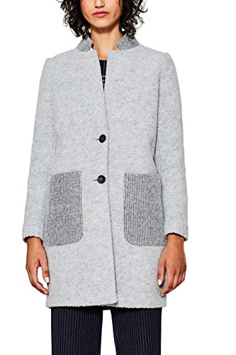 edc by ESPRIT Damen Mantel 097CC1G027, Grau (Light Grey 040), Large