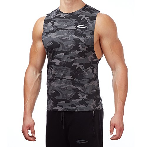 SMILODOX Cut Off Tank Top Herren | Camouflage -Muskelshirt für Sport Gym Fitness & Bodybuilding | Muscle Shirt mit Aufdruck - Unterhemd - Achselshirt - Trainingshirt Kurz, Größe:M, Farbe:Anthrazit Camouflage (Camouflage Herren Tank Top)