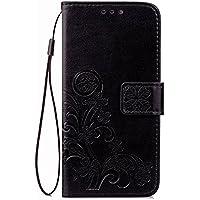 Guran® Funda de Cuero PU para LG L70 Smartphone Función de Soporte con Ranura para Tarjetas Flip Case Trébol de la suerte en Relieve Patrón Cover - Negro