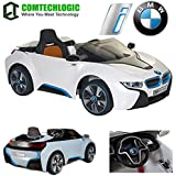 Official Licensed Comtechlogic CM-2157 BMW i8 Concept Twin Powered Rechargeable Electric Ride on Kids Car With Parental Remote Control - Blue / White