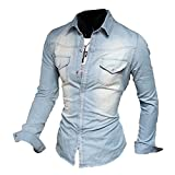 Meedot Freizeit Hemden Herren Slim Fit Hemd - Herren Jeanshemd Waschung Blau Oberteil Jeans Tops Pullover Shirt Langarmshirt Hellblau XL
