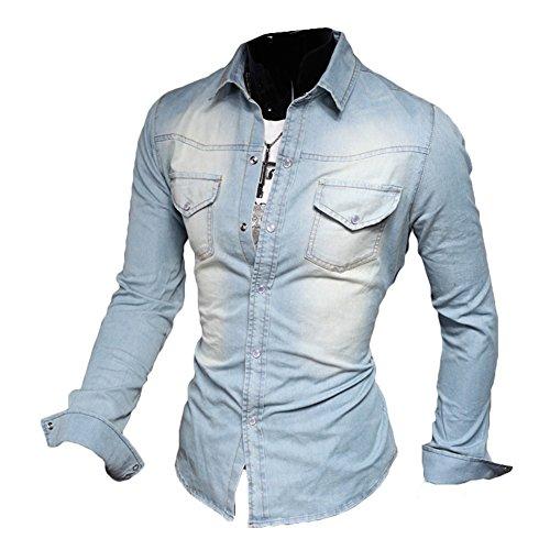 Meedot Freizeit Hemden Herren Slim Fit Hemd - Herren Jeanshemd Waschung Blau Oberteil Jeans Tops Pullover Shirt Langarmshirt Hellblau