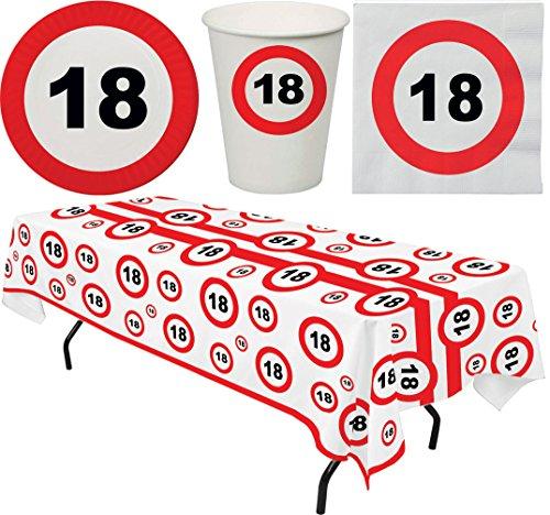 Karneval-Klamotten Tisch Deko Geburtstag 18 Party-Geschirr Teller Becher Servietten 8 Personen und Tischdecke Party Set 33 Teile Verkehrsschild