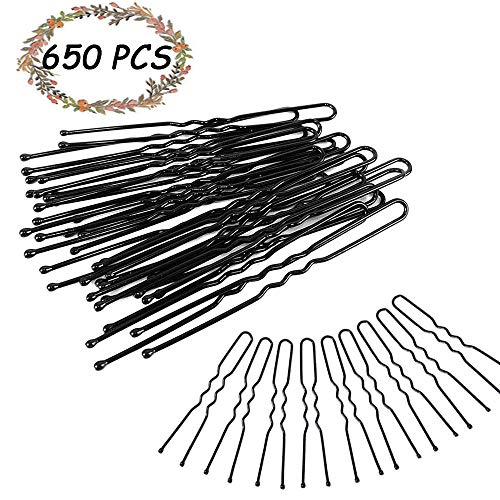 650Pcs Forcine e U Perni, Kalolary 6 cm Perni neri Bobby Perni a forma dei capelli forcine per capelli per le donne Ragazza Panini Up-Dos