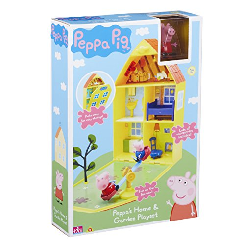 Open up Peppa's House to reveal lots of rooms and a garden area! There's lots of furniture, 2 articulated Peppa and George figures, plus a see-saw and tree for outdoor fun! Make up lots of Peppa Pig stories, push Peppa & George on the see-saw, th...