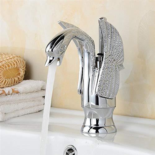 CZOOR Moderne New Swan Design Becken Wasserhahn Bad Einhand Verchromt High Arch Luxus Armaturen Heiße Und Kalte Mischbatterien HJ-35L (Delta Bad Armatur Gebürstet)