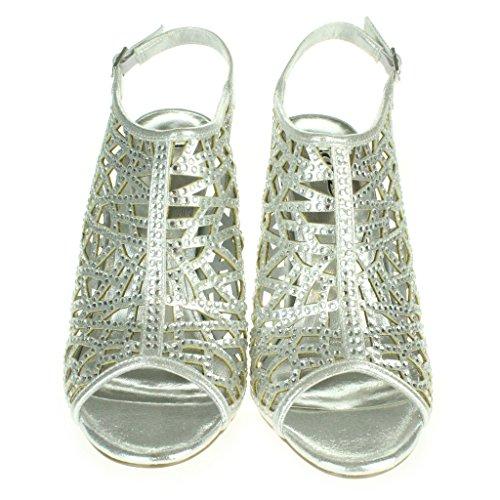 Frau Damen Laser Cut Mode Fesselriemen Peeptoe Abend Braut Hochzeit Party Prom Hoch Absatz Sandalen Schuhe Größe Silber
