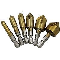 6 piezas Avellanadoras Avellanadores HSS 90º countersink vástago hexagonal avellanado de broca Enchapado de Titanio de 6mm / 8mm / 9mm / 13mm / 16mm / 19mm para Metal Aluminio, placa de hierro fino, tablero de aislamiento, tablero de PVC, madera