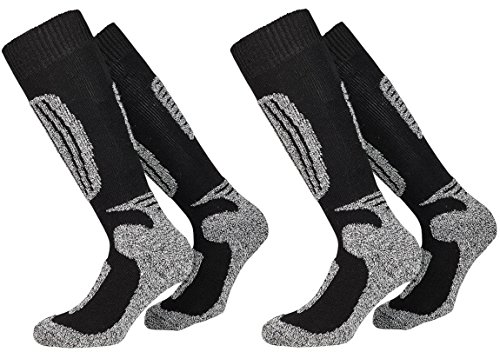 PistenSauser 2 Paar warme Skisocken mit Wolle, Ski-Kniestrümpfe zum Preis von Einem Paar mit zusätzlicher Garantie, Damen, Herren (Schwarz, 39/42) -