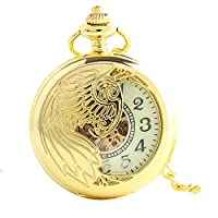 Lekima Pocket Watch Peacock Engraved Skeleton Arabic Numerals Mechanical Movement Automatic Clamshell Single Alloy Chain Gift For Men Women - Gold