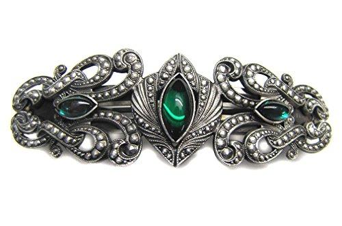 Haarspange Gothic Beauty antik silberfarben mit grünen Glassteinen Spangenlänge 7cm