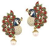 Prüfstein indischen Bollywood ethnischen Pfau minakari Emaille Rot Faux Rubin grün Faux Smaragd und Faux Perlen Lang Brautschmuck Kronleuchter Designer Schmuck Ohrringe für Damen in Antik Gold Ton.