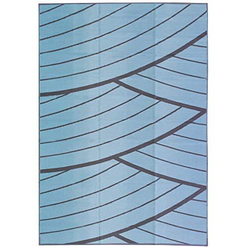 iCustomRug Inverso Outdoor Teppich Kollektion, wendbar, Kunststoff, 1,5 x 2,4 m, verblasst Nicht, für Terrasse, Balkon oder Strand 9' x 12' blau/grau - Terrasse Kollektion