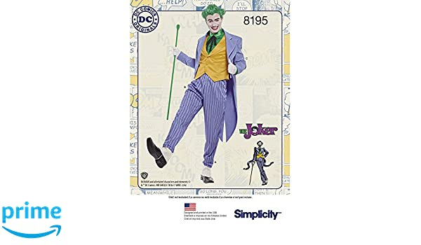 Simplicity 8195 DC Comics Joker Kostüm Nähmuster für Herren, weiß ...