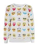 Mädchen Sweater mit Emoji Print, langarm, S, Weiß