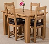 Hampton Solid Oak Extending Dining Table with 4 Lincoln Chairs