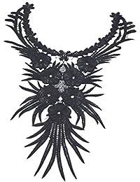 Blumen Blatt Gestickte Spitzenkragen Kleid Verzieren Klöppelspitze Schwarz