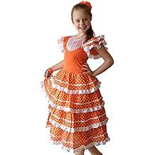 La Senorita Vestido Flamenco Español Traje de Flamenca chica/niños naranja blanco (Talla 4, 92-98 - 65 cm, 3/4 años, naranja)