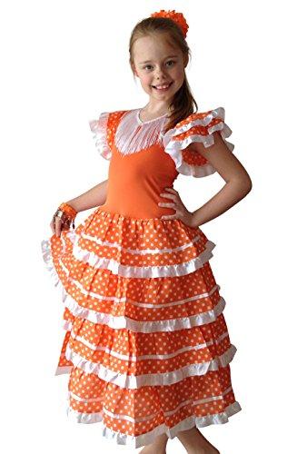 (La Senorita Spanische Flamenco Kleid / Kostüm - für Mädchen / Kinder - Orange / Weiß (Größe 92-98 - Länge 65 cm, Mehrfarbig))