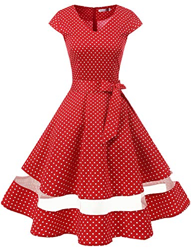 Gardenwed 1950er Vintage Retro Cocktailkleid Cap Sleeves Rockabilly Kleider Damen Schwingen Petticoat Faltenrock Red Small White Dot 2XL