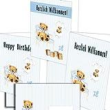 Gratulationskarte Herzlichen Glückwunsch zur Geburt Baby Junge 3 Stück mit Umschlägen