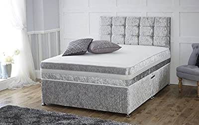 4ft6 Double Divan Sleepkings Bed - Base in Italian Crushed Velvet Fabric High Quality Beds - low-cost UK light store.