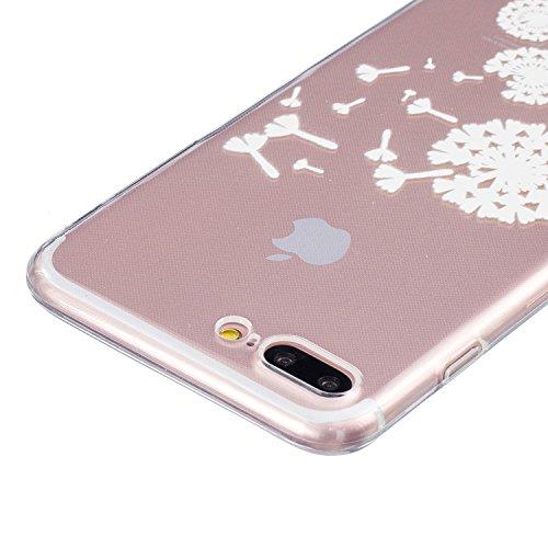 iPhone 7 Plus Hülle,SainCat iPhone 7 Plus Silikon Hülle Tasche Handyhülle Cartoon Retro Muster [Löwenzahn] Schutzhülle Transparent TPU Gel Case Bumper Weiche Crystal Kirstall Clear Silikonhülle Durchs Weiß-Fliegen Löwenzahn