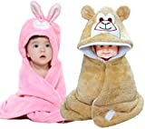 BRANDONN Baby Boy's And Girl's Soft Glacier Hooded Blanket (Pink And Beige) - Pack of 2