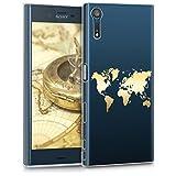 kwmobile Coque Sony Xperia XZ/XZs - Coque pour Sony Xperia XZ/XZs - Housse de téléphone en Silicone doré-Transparent