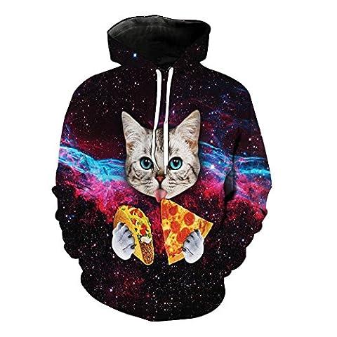 KKYLOVEJ Unisexe Galaxie 3D Imprimé Hoodies Cat Eating Pizza Photo Conçu pour les couples Casual Loose Manches Longues Sweatshirts Respirant Confortable Drawstring avec Big Pocket, S-6XL , style 1 , 2xl
