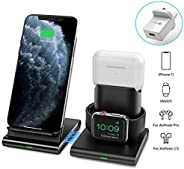 ALFAN Wireless Charger, 3 in 1 Wireless Charging Station for Apple Watch, AirPods Pro/2, Detachable and Magnet