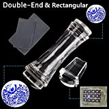 BTArtbox 2 Pcs Double Ended Transparent Round and Jelly Clear Stampers Plate And Scrapers Set DIY Nail Art Tools Template Manicure Accessories(Large:1