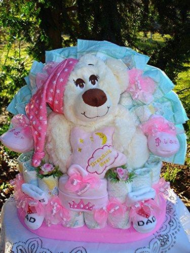 """Windeltorte""""Baby's erster Teddybär und Babyset""""rosa"""
