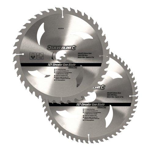 SILVERLINE 803634 - DISCOS DE TCT PARA SIERRA CIRCULAR 40 Y 60 DIENTES  2 PZAS (300 X 30 - ANILLOS DE 25  20 Y 16 MM)