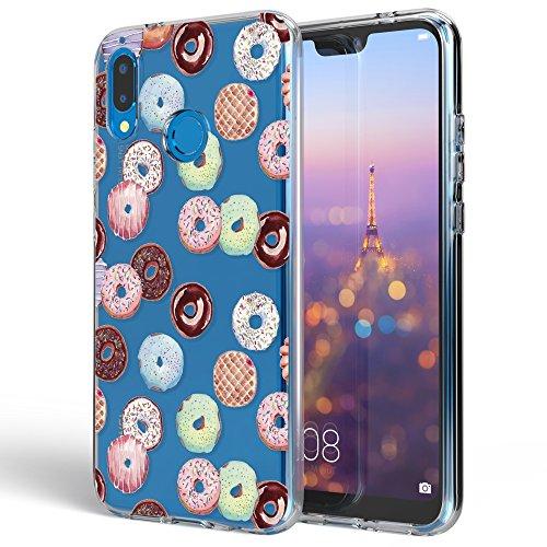 Huawei P20 Lite Hülle Handyhülle von NALIA, Slim Silikon Motiv Case Cover Crystal Schutzhülle Dünn Durchsichtig, Etui Handy-Tasche Backcover Transparent Bumper für P20Lite, Designs:Doughnuts (Blatt-design-folie)